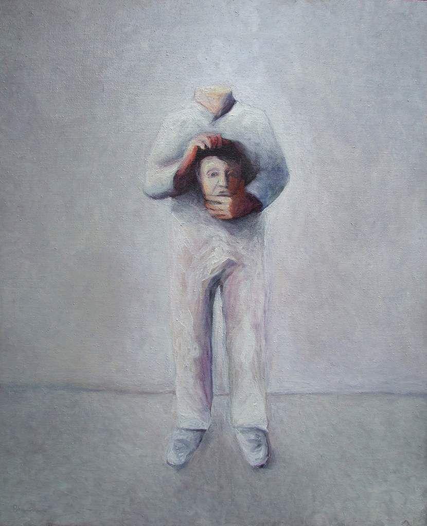 1/Autoportrait ou Seul dans la ronde Huile sur toile 120X120  2/ Autoportrait en clown blanc céphalophore Huile sur toile 110x90Vers 1990/91 Bhavsar
