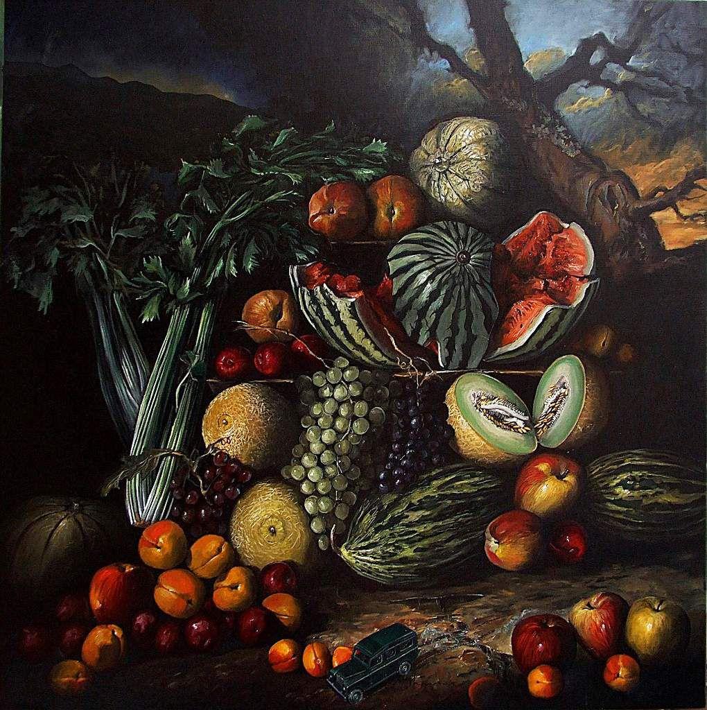 Sous la pluie, fruits après l'orage  Huile sur toile  100X100 Bhavsar