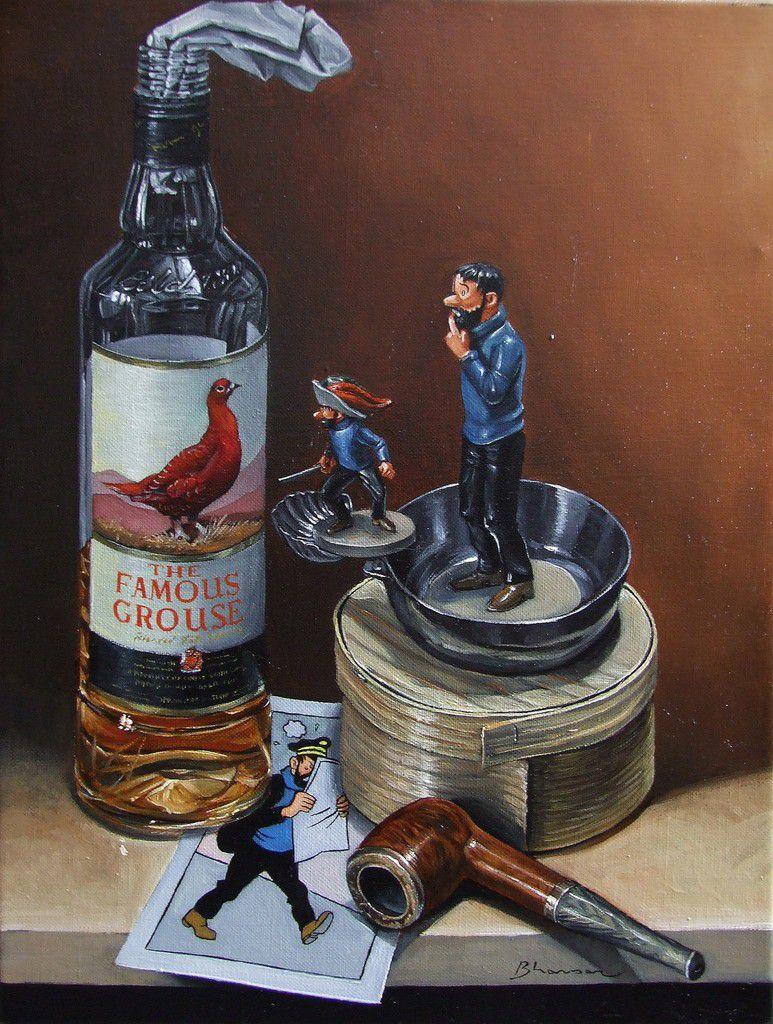 Le whisky du capitaine Haddock  Huile sur toile 40x30 Bhavsar