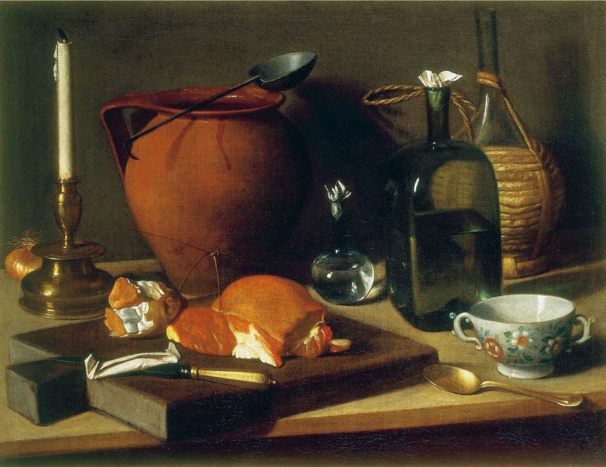 Carlo Magini (1720–1806) Nature morte (Still Life with Cup, Bottle, Clay Pot and Candlestick) Huile sur toile (oil on canvas)  Dimensions 60.5 × 78.3 cm