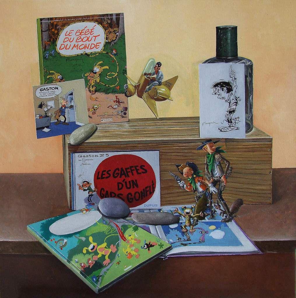 L'univers d'André Franquin 3. L'univers d'Hergé et de Tintin. En cours d'exécution. Huile sur toile 80X80 Bhavsar