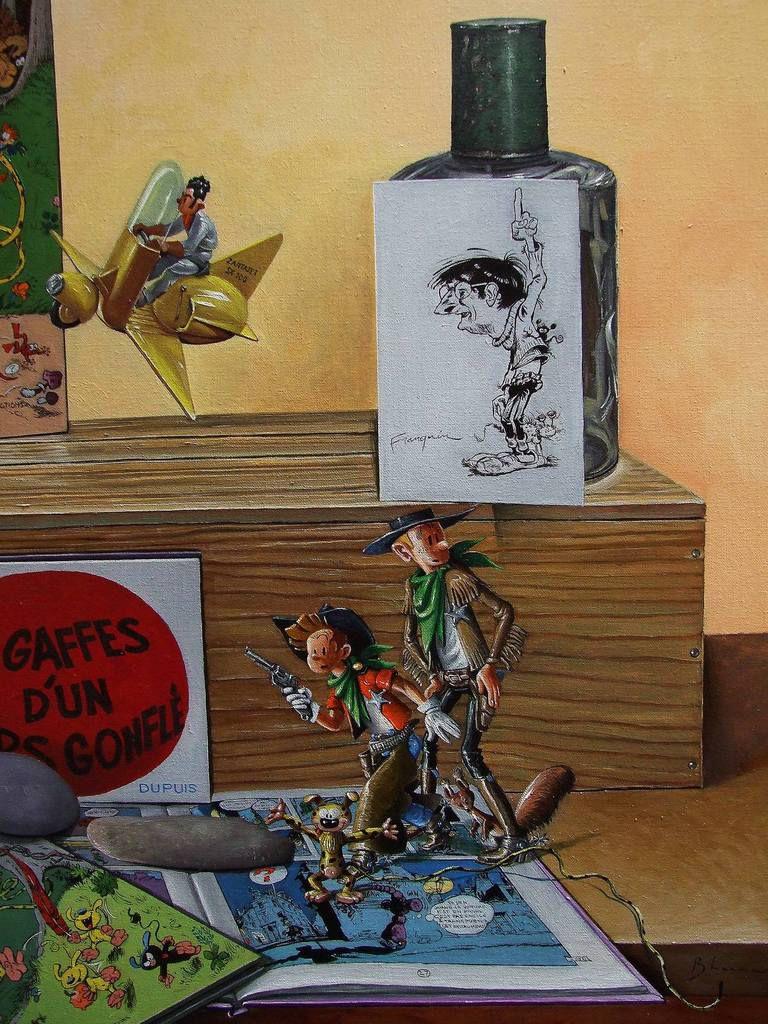 L'univers de Franquin 3  ou Nature morte pour Franquinophile Détail Spirou, Fantasio et Spip &#x3B; Le Zantajet 80x80 Huile sur toile Bhavsar
