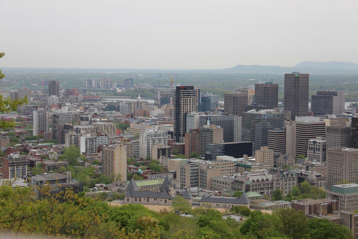 Vue du centre de Montréal en haut du Mont Royal.