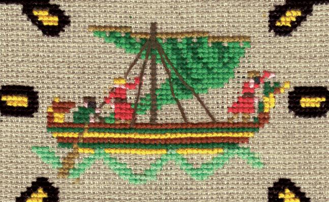 D'après la Tapisserie de Bayeux, une grille de Christiane représente les troupes normandes partant vers l'Angleterre en 1066.
