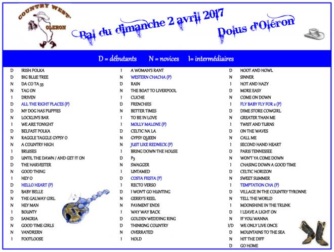 playlist dolus d'oléron le 2 avril 2017