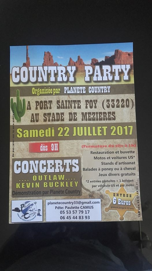 Port Sainte foy 33 - festival country 2017 - playlist et programme