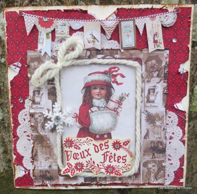 carte de noël &quot&#x3B;petite fille en rouge&quot&#x3B;