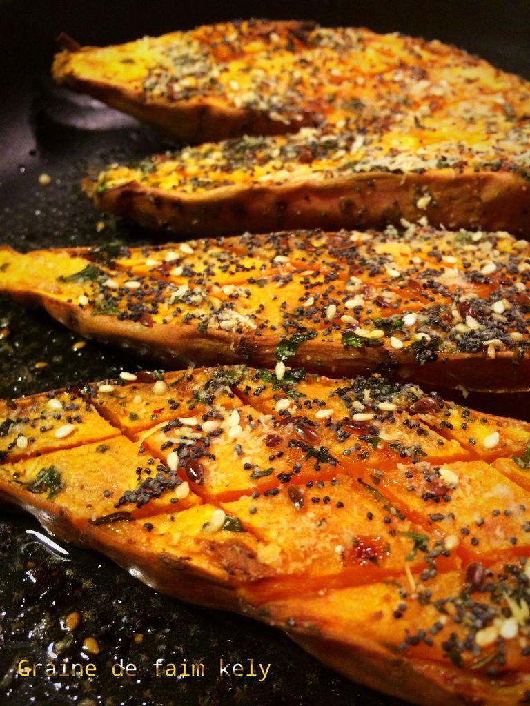 Patates douces rôties au parmesan et petites graines