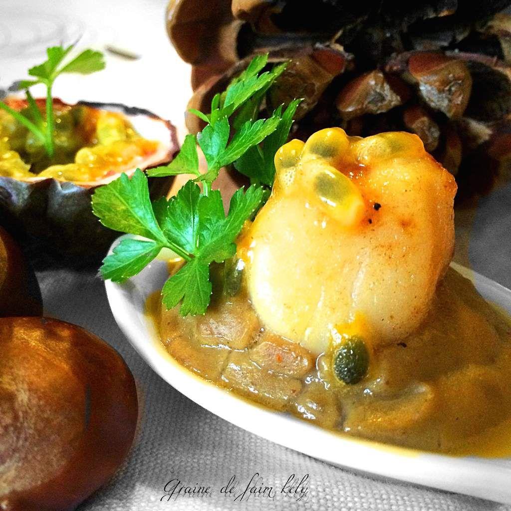 Crémeux de châtaignes au curry, noix de pétoncles dans son  jus de passion #Bataille Food 29