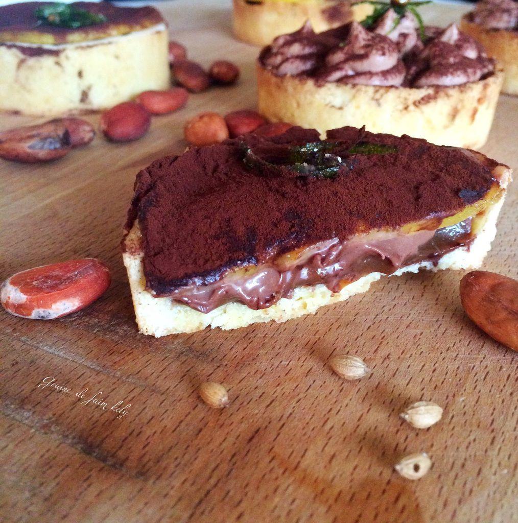 Tartelettes au chocolat coriandre - carmel beurre salé, mangue au sirop citron vert ** #Battle Food 40