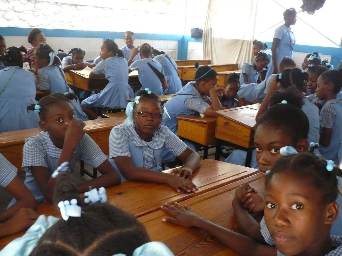 Les élèves se sont répartis en groupes de 6 ou 7 élèves et ont imaginé une histoire avec un sujet différent. Un jeune coq a accompagné le travail toute la matinée, refusant de quitter la classe. Nous ne savons pas s'il a pu raconter les différentes histoires à ses congénères.