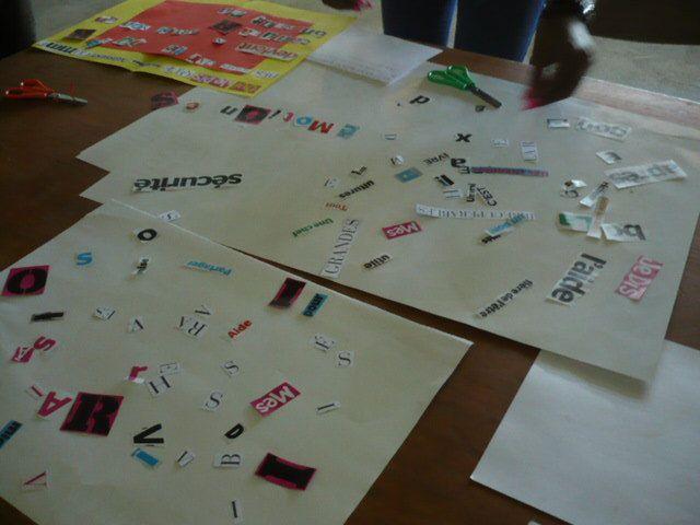 Installation des mots et des lettres pour pouvoir créer le poème
