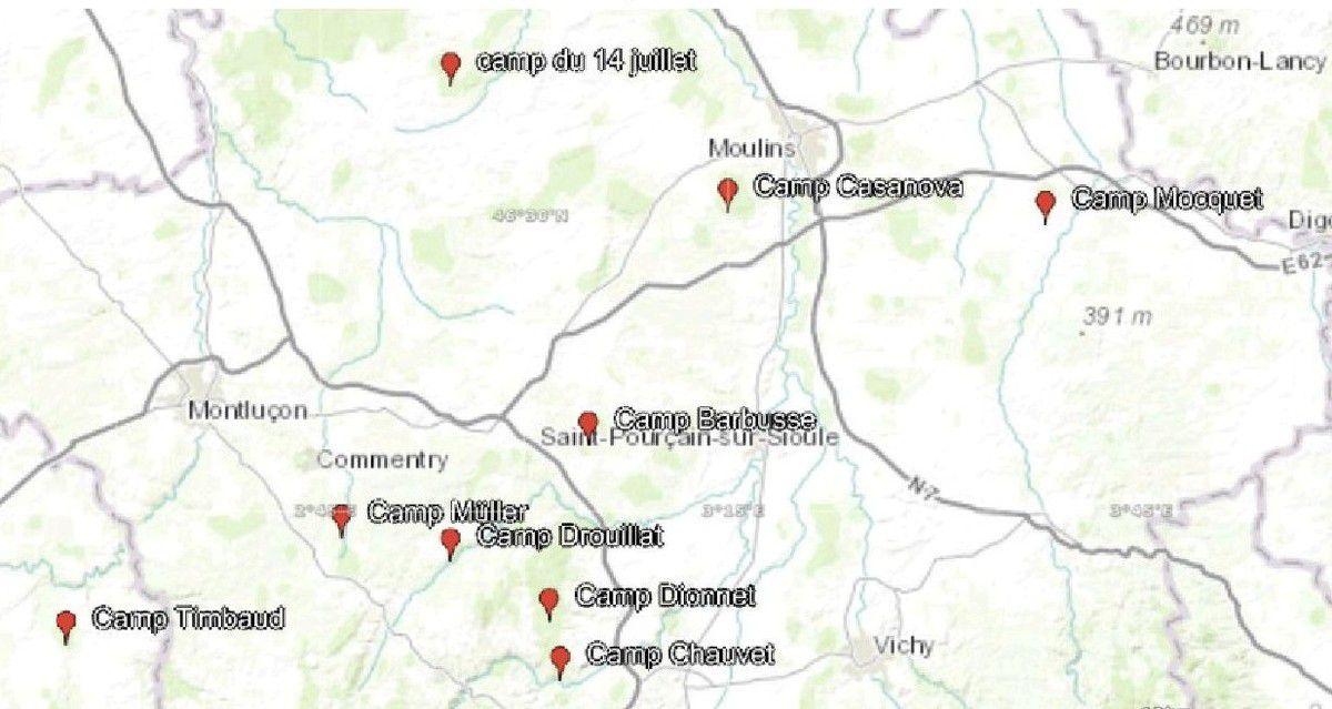 Emplacements approximatifs des camps FTP de l'Allier en juillet 1944