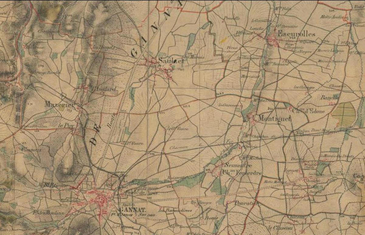 Saulzet sur une carte d'état-major du XIXe