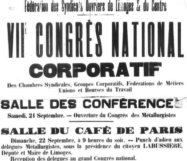 Le congrès fondateur de Limoges du 23 septembre 1895