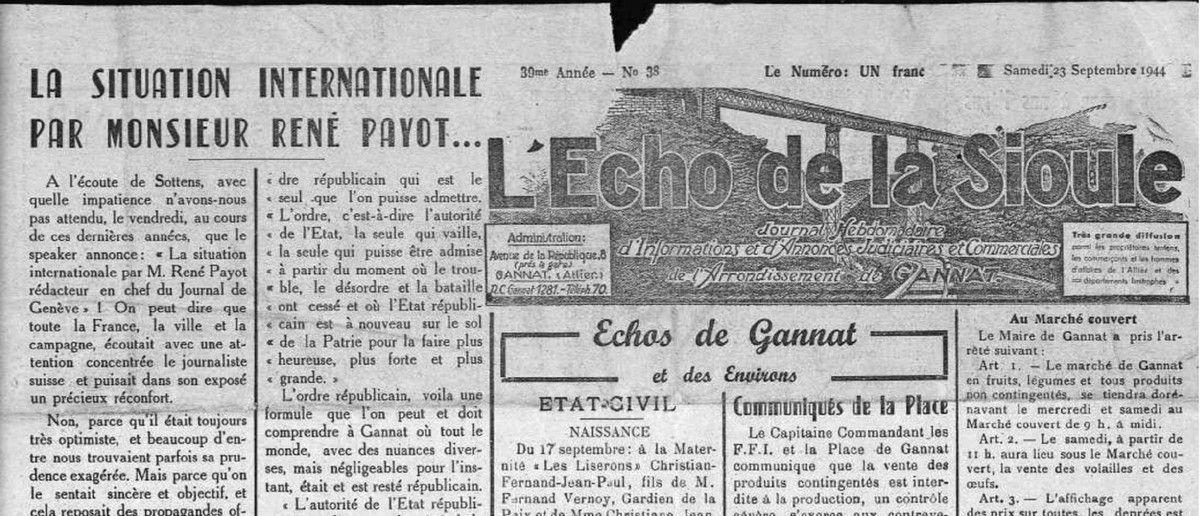 Écho de la Sioule (23 septembre 1944)