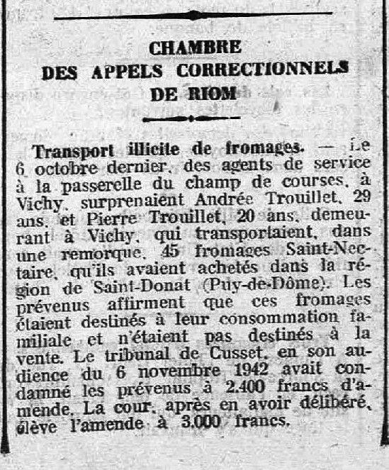 1942 : transport &quot&#x3B;illicite&quot&#x3B; de Saint-Nectaire