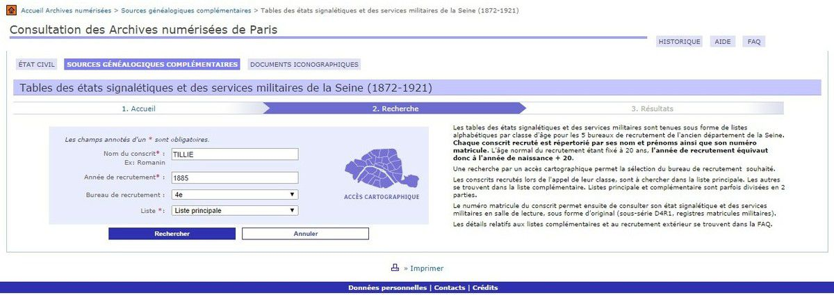 Capture d'écran du site des archives municipales de Paris