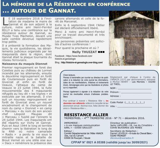 Extrait de Résistance Allier n°71