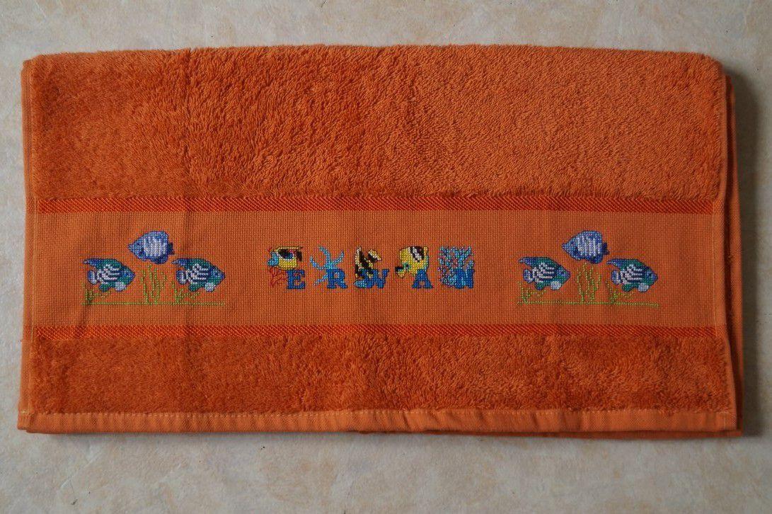 Une serviette brodée pour mon beau-frère