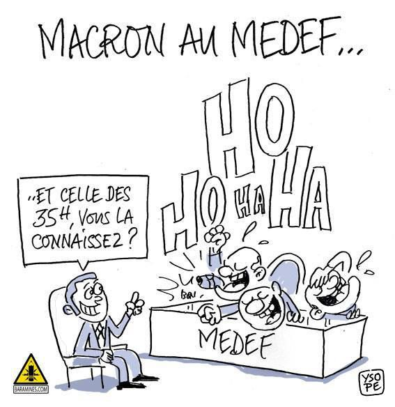 Macron critique les 35 heures devant le Medef
