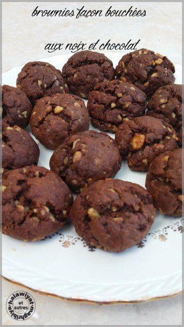 brownies façon bouchées (au noix et chocolat)