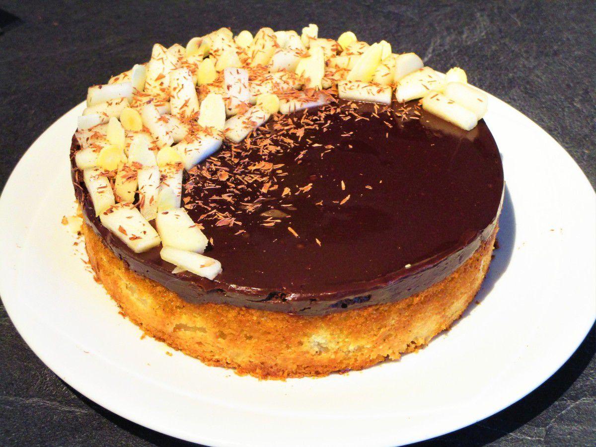 Gâteau poire et ganache chocolat