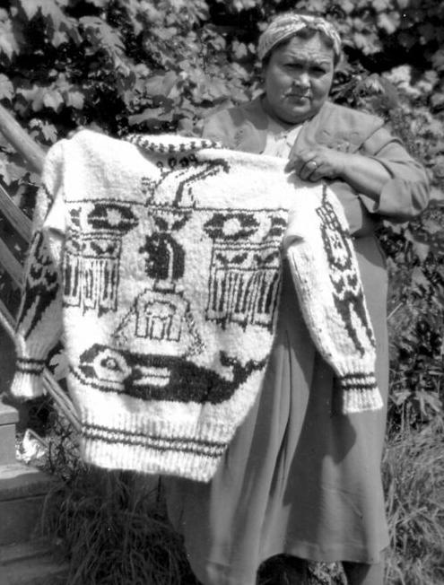 Mabel Modeste / 1940s, modèle typique Cowichan : motif très repris à l'époque
