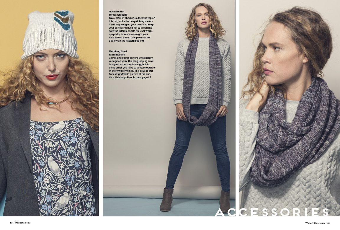 Knitscene Winter 2015 : bonnet chevrons et col