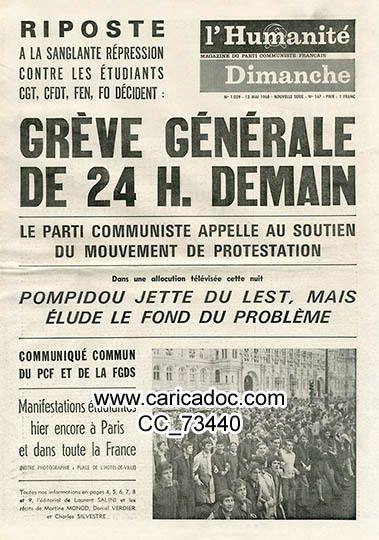 «Grève générale de 24 H. demain Pompidou jette du lest, mais élude le fond du problème», Humanité dimanche, 12/5/1968.
