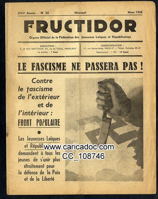 «Le fascisme ne passera pas», Fructidor, 3/1938.