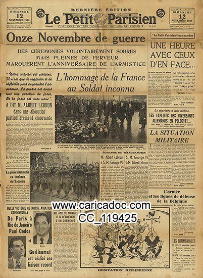 «Onze novembre de guerre Soldat inconnu Armistice», Le Petit Parisien, 12/11/1939.