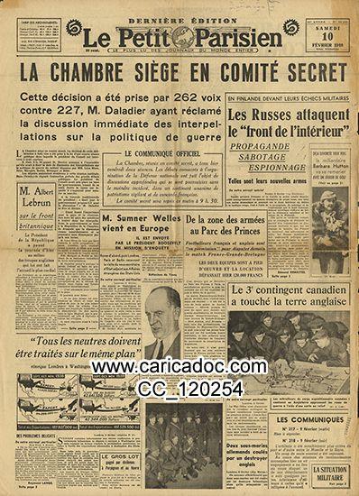 «La chambre siège en comité secret Front intérieur propagande sabotage espionnage Sumner Welles Daladier Lebrun», Le Petit Parisien, 10/2/1940.