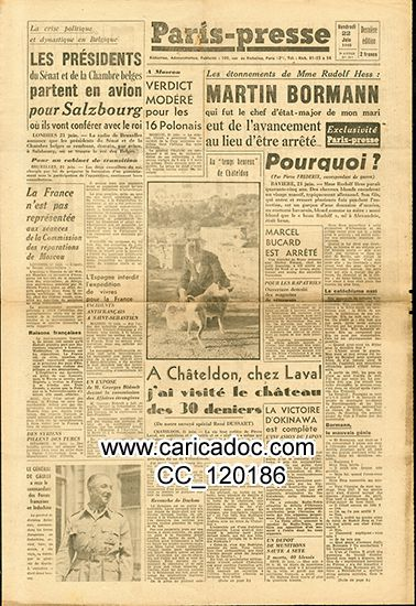« Martin Bormann », Paris-Presse, 23/6/1945.