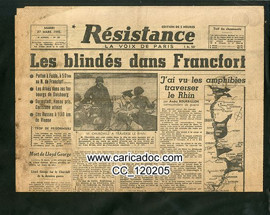 «Les blindés dans Francfort», Résistance La voix de Paris, 27/3/1945.
