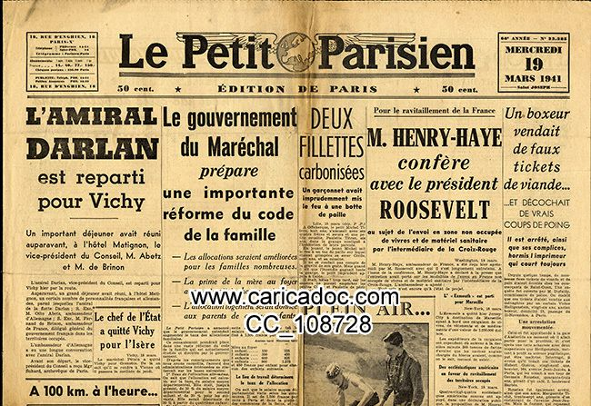 1941 Seconde Guerre mondiale Collaboration Vichy