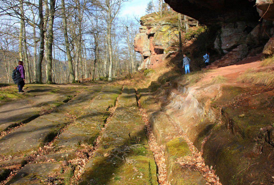 Les rails sont encore bien visibles au rocher du saut du prince Charles. Cet endroit précis permettait à 2 chariots de se croiser et de faire une halte pour reposer les bêtes.