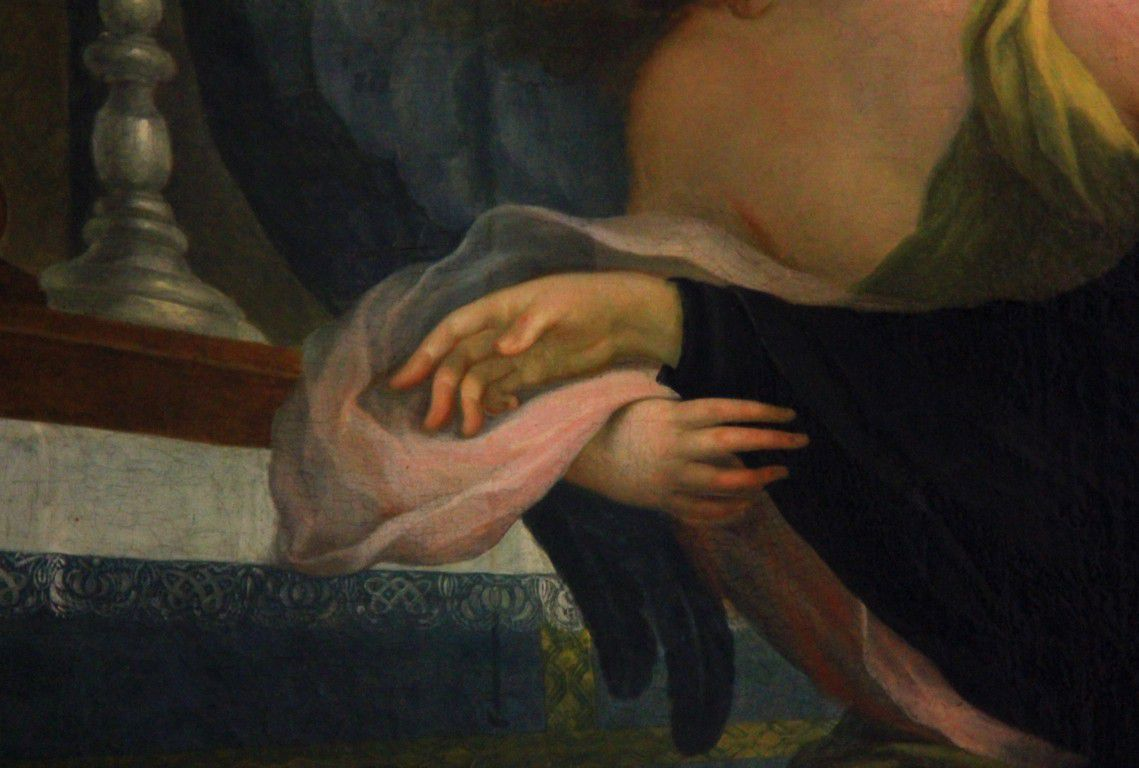 Un détail du tableau représentant la mort de Sainte Scolastique.