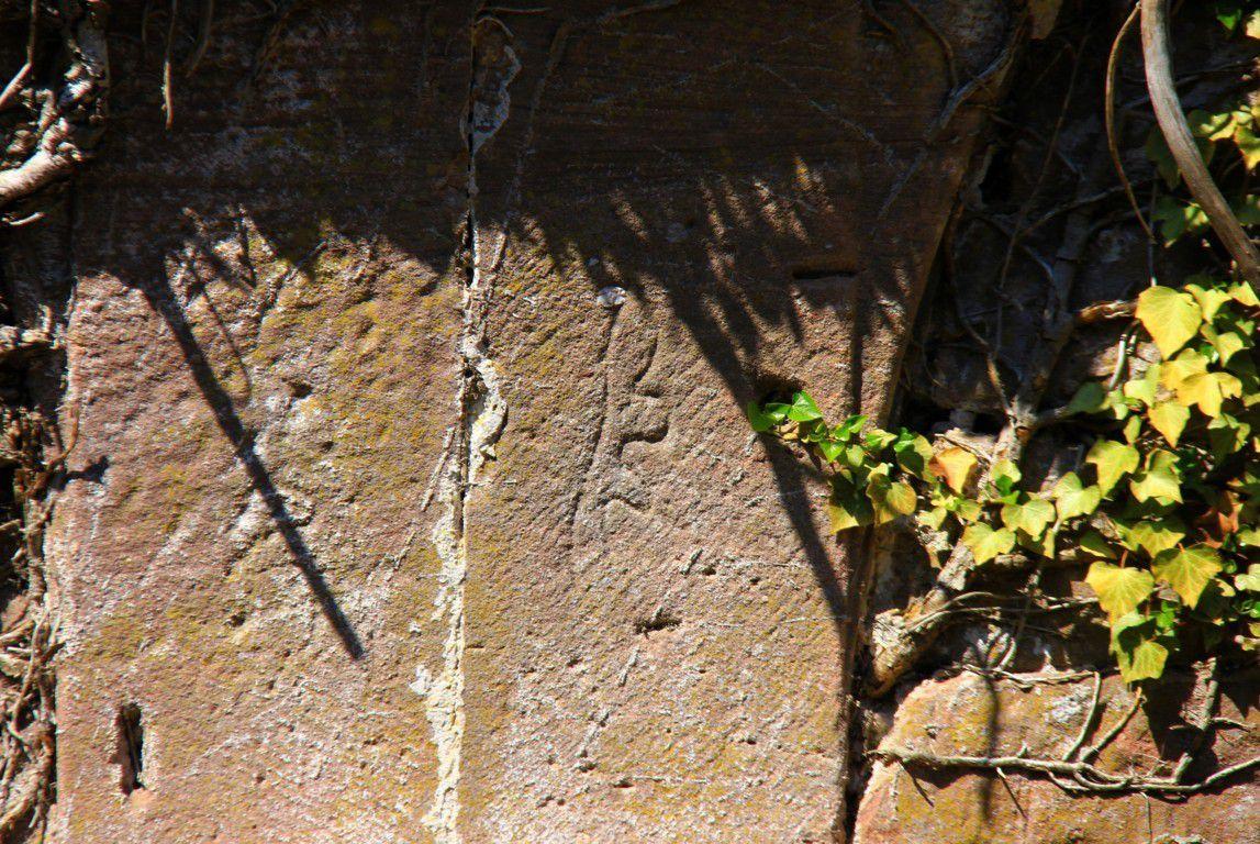 Des feuilles de chênes gravés sur un pilier.