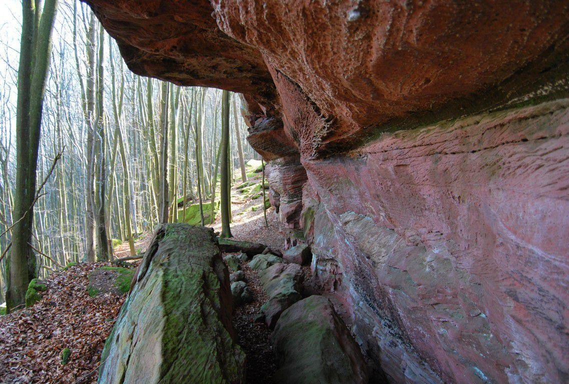 Abri sous roche avec éboulis très anciens.