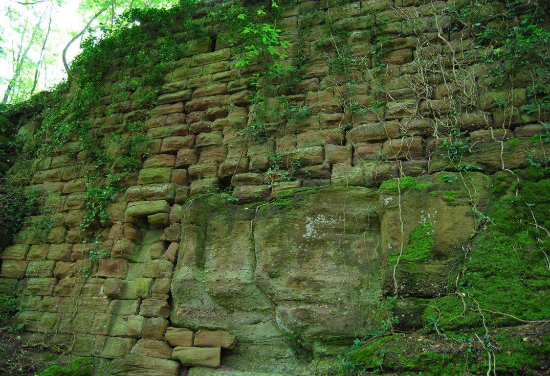 Vestiges d'un canal d'évacuation d'un lieu d'aisance. Le Herrenstein était occupé par une forte garnison à l'apogée de sa puissance. Ses pierres serviront à la construction de la citadelle de Lichtenberg