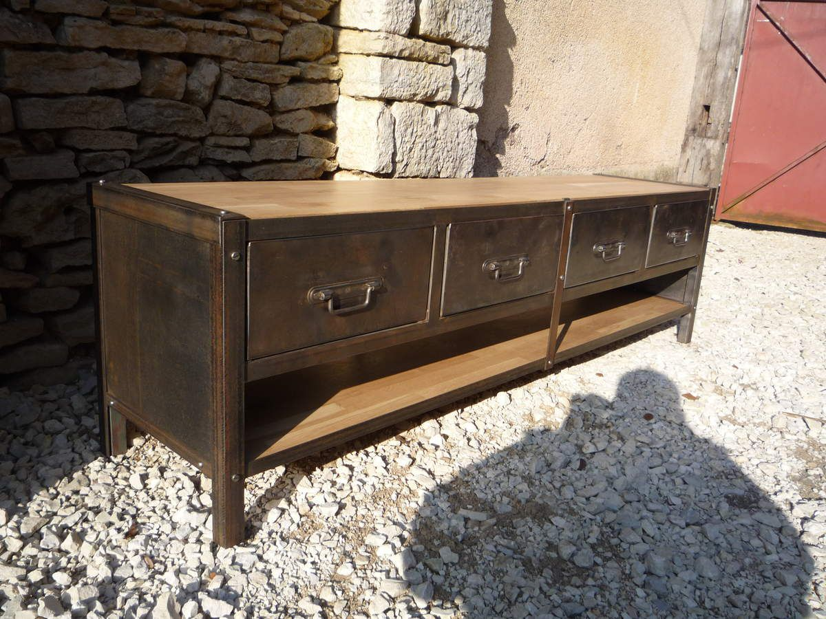 meuble tv metier 4 tiroirs metal plateaux ch ne naturel 1950 mettetal industry design. Black Bedroom Furniture Sets. Home Design Ideas