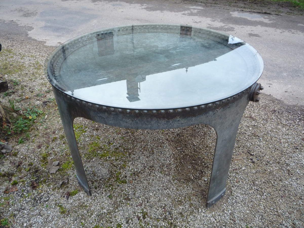 TABLE CUVE RIVETEE INDUSTRIEL ATELIER LOFT 1900-1930