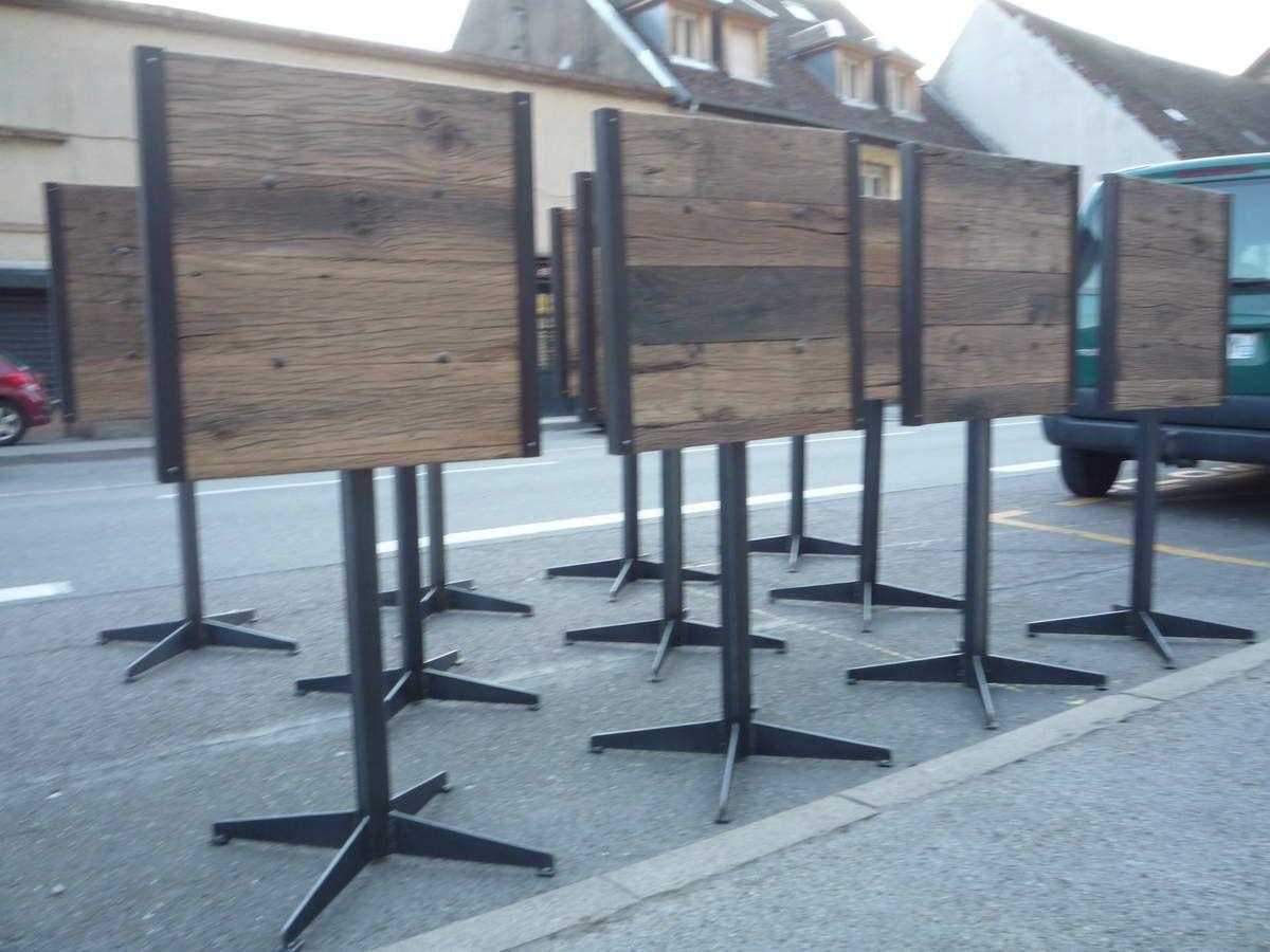 TABLE MANGE-DEBOUT GUERIDON ACIER PLATEAU TRAVERSES SNCF VIEUX CHÊNE