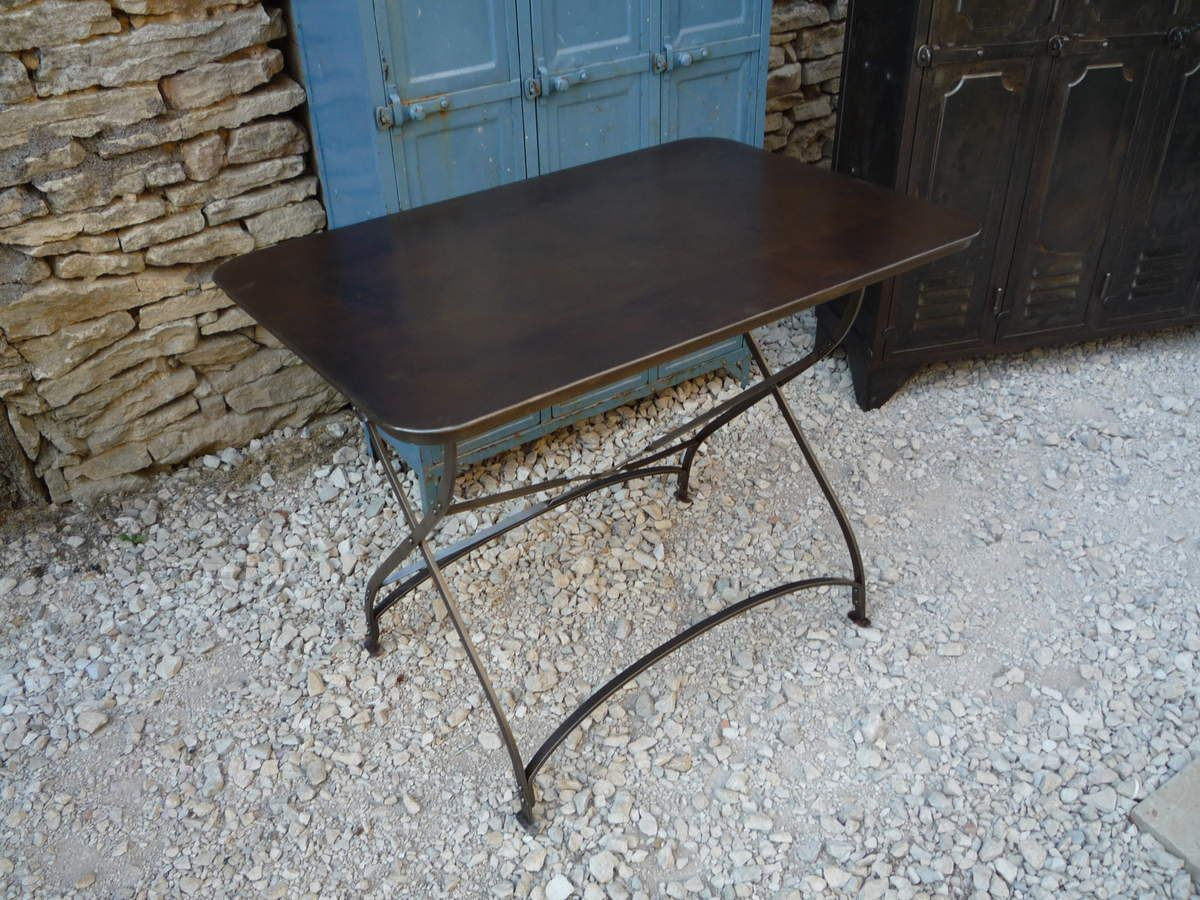 Table bistrot terrasse rivetee pliante 110 vers 1930 mettetal industry design industriel du for Pietement de table pliante