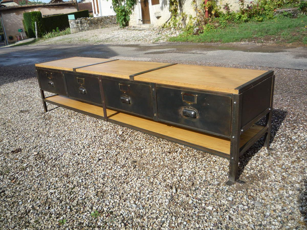 Meuble Tv Industriel Occasion Perfect Enfilade Bahut Buffet  # Meuble Tv En Metal Industriel