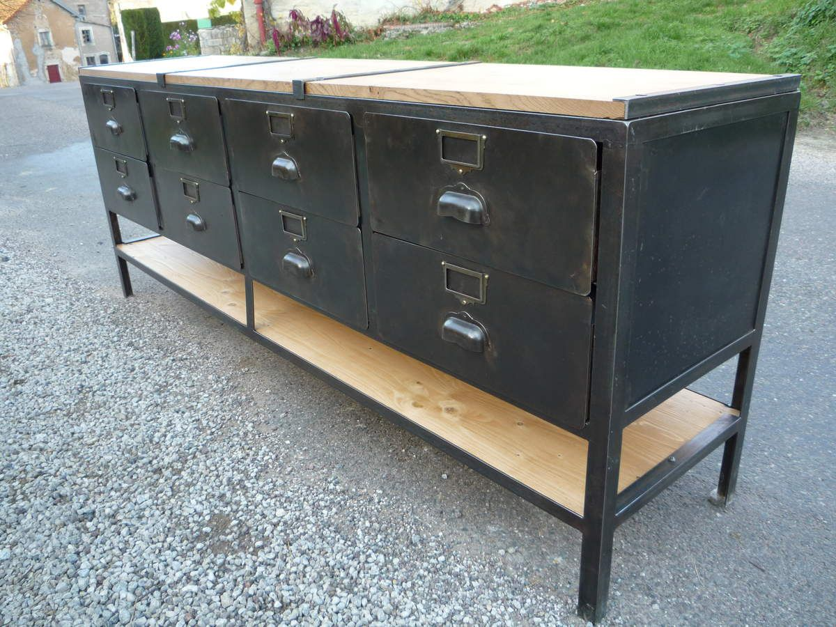 Meuble tv metier 8 tiroirs metal 39 antique 39 plateau ch ne for Meuble bureau 1950