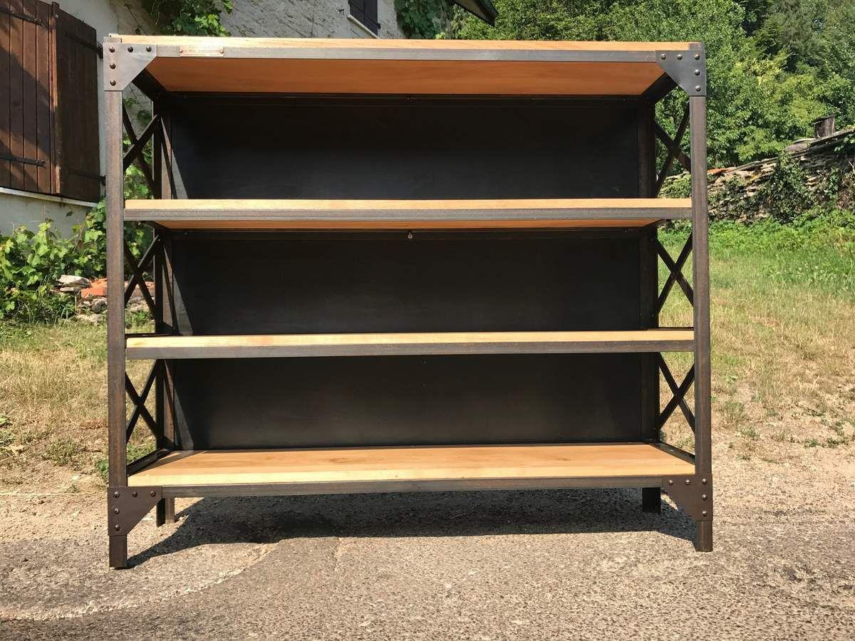 rac bas rivet tag re metal bois biblioth que 4 plateaux ch ne creation 2017 mettetal. Black Bedroom Furniture Sets. Home Design Ideas