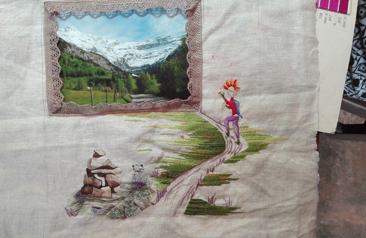 Peinture à l'aiguille réalisée par Isabelle