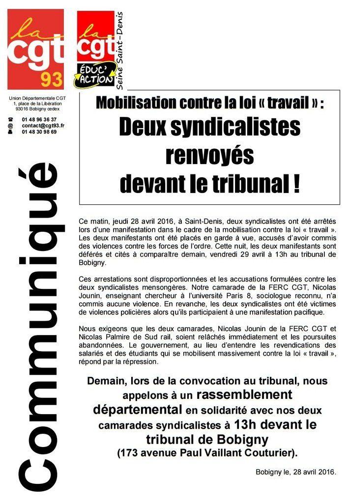 Mobilisation contre la loi travail deux syndicalistes for Chambre 13 tribunal bobigny